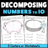 Kindergarten Math Center: Decomposing Numbers:  6 Workmats + 3 worksheets