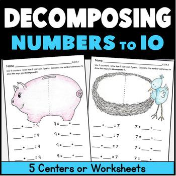 Kindergarten Math Center: Decomposing Numbers:  6 Workmats