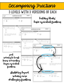 Decomposing Fractions Assessments or Practice Sheets {Differentiated}