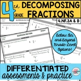 Decomposing Fractions Assessments or Practice Sheets {Diff
