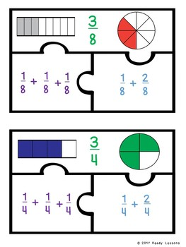 Decomposing Fractions Game Puzzles for 4th Grade Fraction Standard 4.NF.3