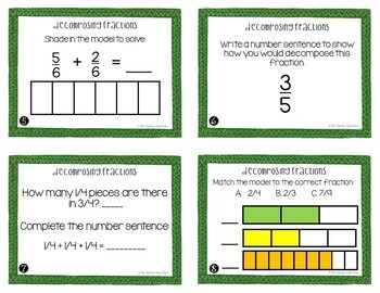 Decomposing Fractions Task Cards | Decomposing Fractions Center Game