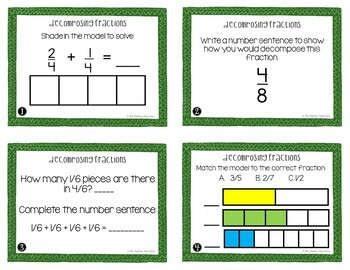 4th Grade Decomposing Fractions Task Cards | Decomposing Fractions Center Game