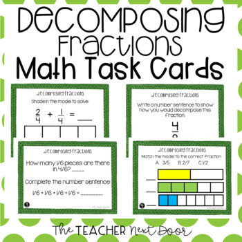 Decomposing Fractions Task Cards for 4th Grade