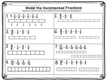 Decomposing Fractions Worksheets and Task Cards by White's ...