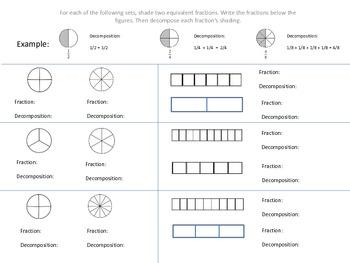 Decomposing Fractions Practice Worksheet