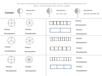 Decomposing Fractions Worksheets | Teachers Pay Teachers