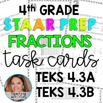Decomposing Fractions TEKS 4.3A 4.3B Task Cards
