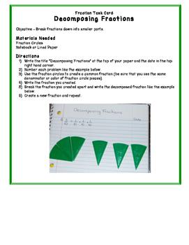 Decomposing Fractions Task Card - Math Center