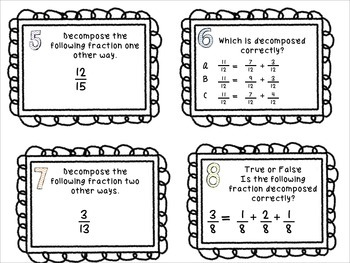 Decomposing Fractions Task Cards