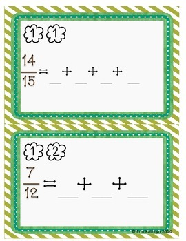 Decomposing Fractions Task Cards - Set of 28 Common Core 4.NF.B.3b