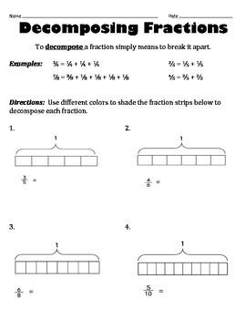 Decomposing Fractions Worksheets | Teachers Pay Teachers