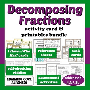 Decomposing Fractions - activity card & printables bundle