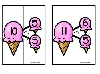Decomposing Number Cone Puzzles:  LOW PREP Summer Themed Puzzles