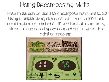 Decomposing Number Mats 2-20 Math Work Stations