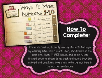 Decomposing Numbers 1-10 --- Ways To Make Numbers 1-10 Number Book
