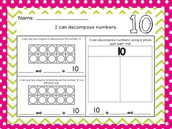 Decomposing Numbers 1-20 Worksheets