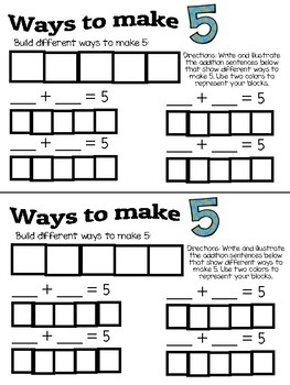 Decomposing Numbers 1-5 Booklet