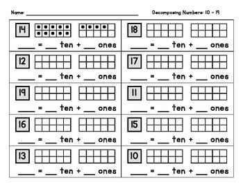 Decomposing Numbers 10-19