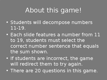Decomposing Numbers: 11 - 19 Game