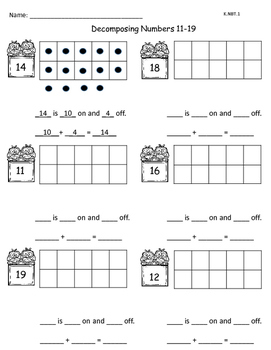 Decomposing Numbers 11-19 Worksheets & Teaching Resources | TpT