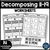 Decomposing Numbers 11-19 Worksheets