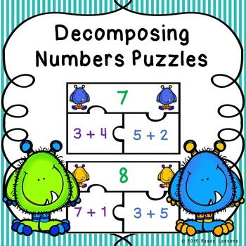 Composing and Decomposing Numbers Game Puzzles for Number Bonds to 10 - K.OA.3