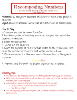 Decomposing Numbers- A Small Group Activity to Build Number Sense