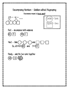 Decomposing Numbers Addition Strategy - Without Regrouping