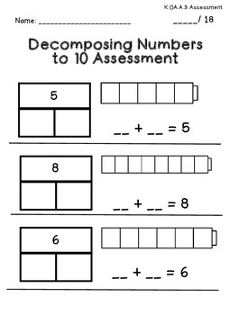 Decomposing Numbers Kindergarten Assessment