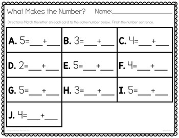 Decomposing Numbers Task Cards