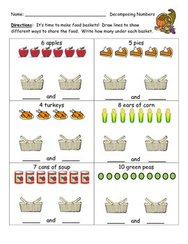 Decomposing Numbers - Thanksgiving Baskets
