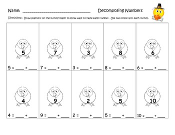Decomposing Numbers - Thanksgiving Turkeys