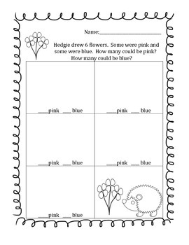 Decomposing Numbers Word Problems