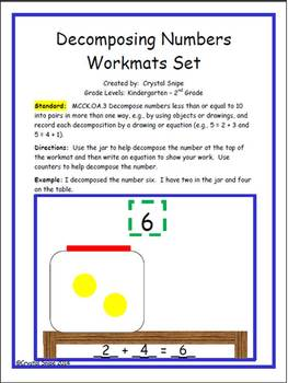 Decomposing Numbers Workmats (Numbers 2-10)