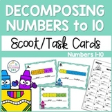 Decomposing Numbers to 10 Task Cards for Kindergarten and