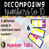 Tens Frame Cards for Number Talks - Decomposing Numbers to 10