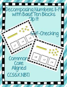 Decomposing Numbers with Base Ten Blocks Self Checking K.NBT.1