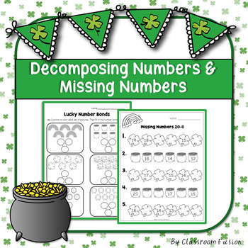 St.Patrick's Day Decomposing and Finding Missing Numbers Worksheets