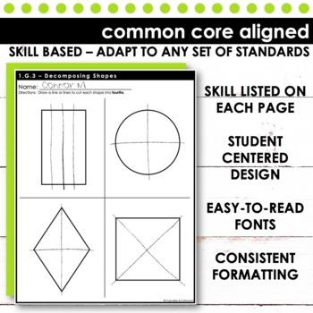 Decomposing Shapes - First Grade Math Skill Check