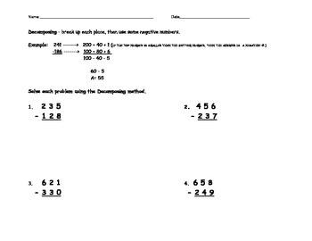 Decomposing Subtraction Worksheet