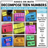 Decomposing Teen Numbers Math Center and Worksheets