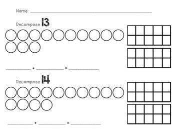 Decomposing Teen Numbers Worksheets