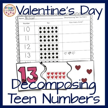 Decomposing Teen Numbers math center with a Valentine's Day theme