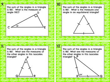 Decomposing Triangles and Angles Task Cards - 4.MD.7