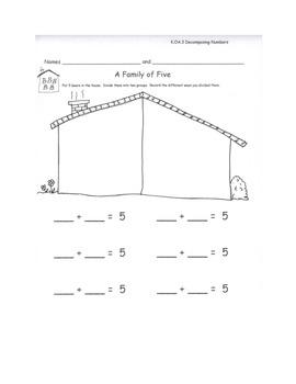 Decomposing Ways to Make 5 Record Decomposition Activity Center Kindergarten