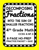 Decomposing a Fraction into the Sum of Smaller Fractions, Fraction Lesson & Quiz