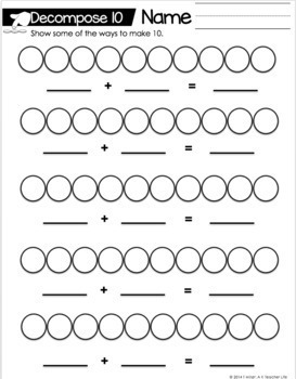 Decomposing Numbers Math Center  5 - 10 The Bundle