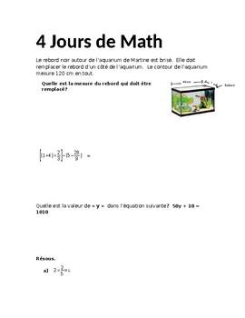 Décompte 10 jours de math-6e année