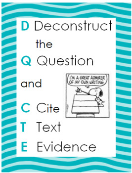 Deconstruct the Question & Cite Text Evidence Poster